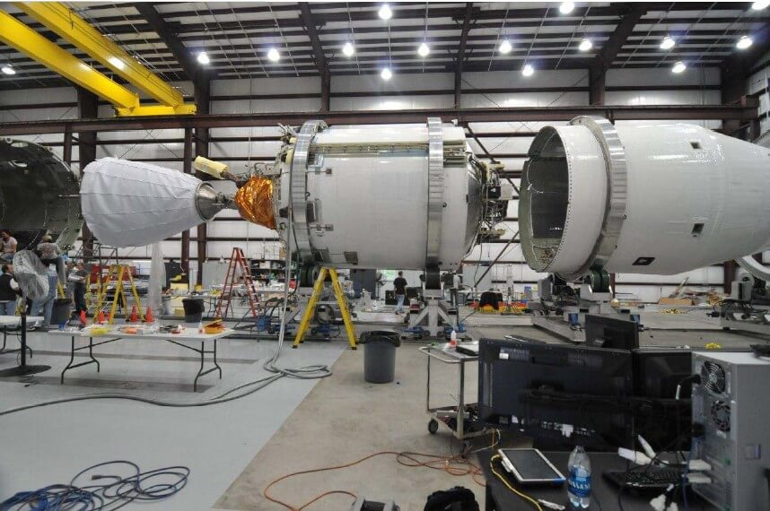 original falcon 9 second stage with interior and nozzle extension showing